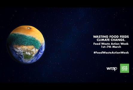 Zoom background of a planet earth merged with a decomposing orange on a galaxy background. Text reads: 'Wasting food feeds climate change. Food Waste Action Week 1st-7th March #FoodWasteActionWeek'.