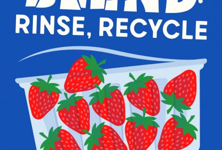 Four by five static image showing a punnet of strawberries with the text 'Blend, Rinse, Recycle' above it and 'Recycle' below.