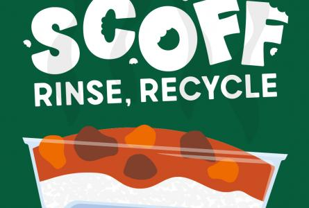 Four by five static image showing a plastic container full of food with the text Scoff, Rinse, Recycle above and Northern Ireland Recycles below.