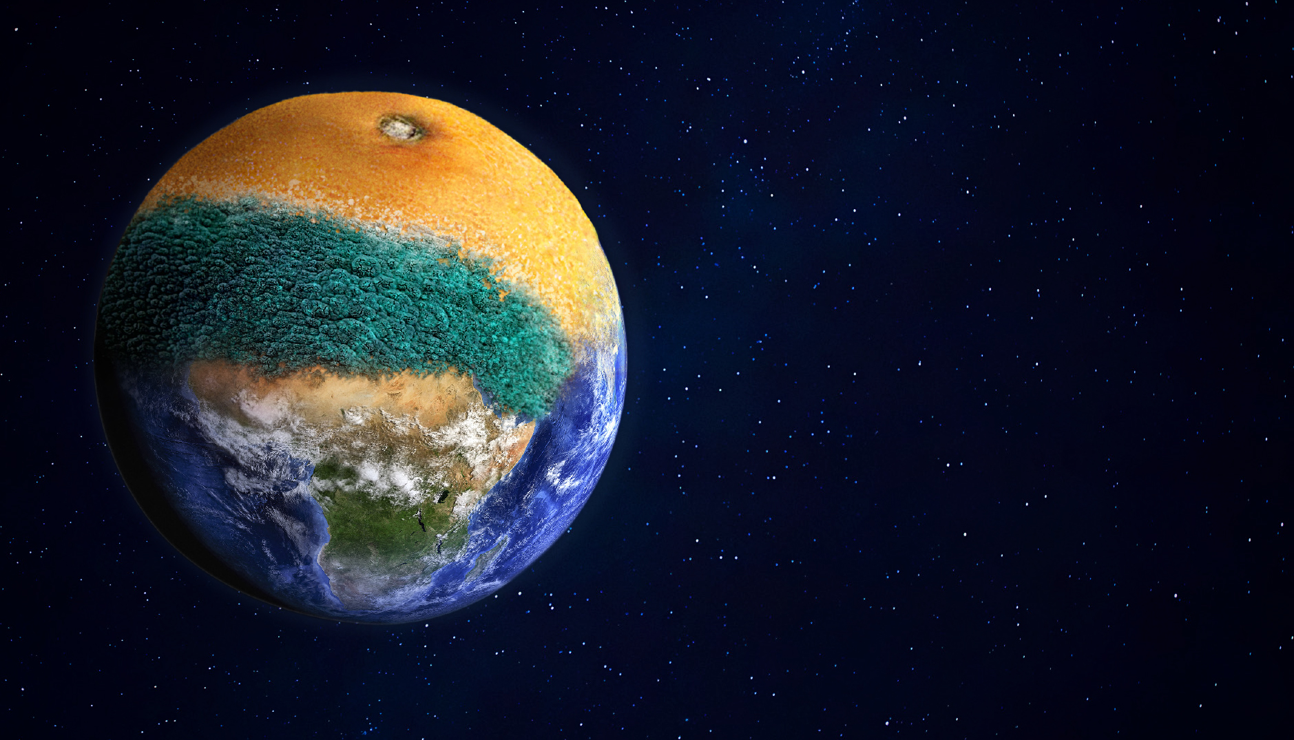 Planet Earth merged with mouldy orange