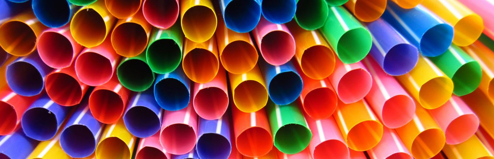 Close up of multicoloured straws