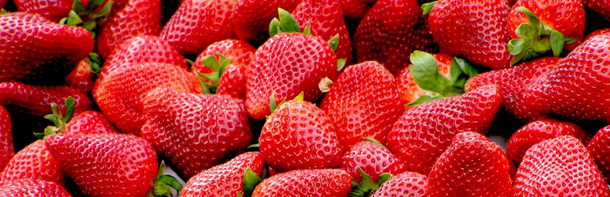 Close up of pile of strawberries