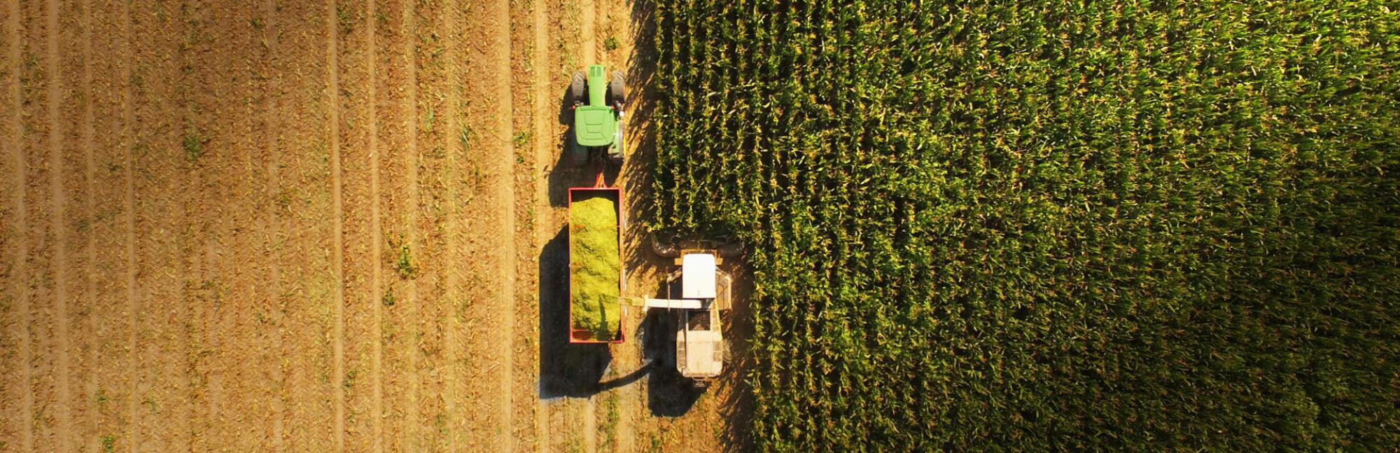 Aerial view of a tractor harvesting a crop