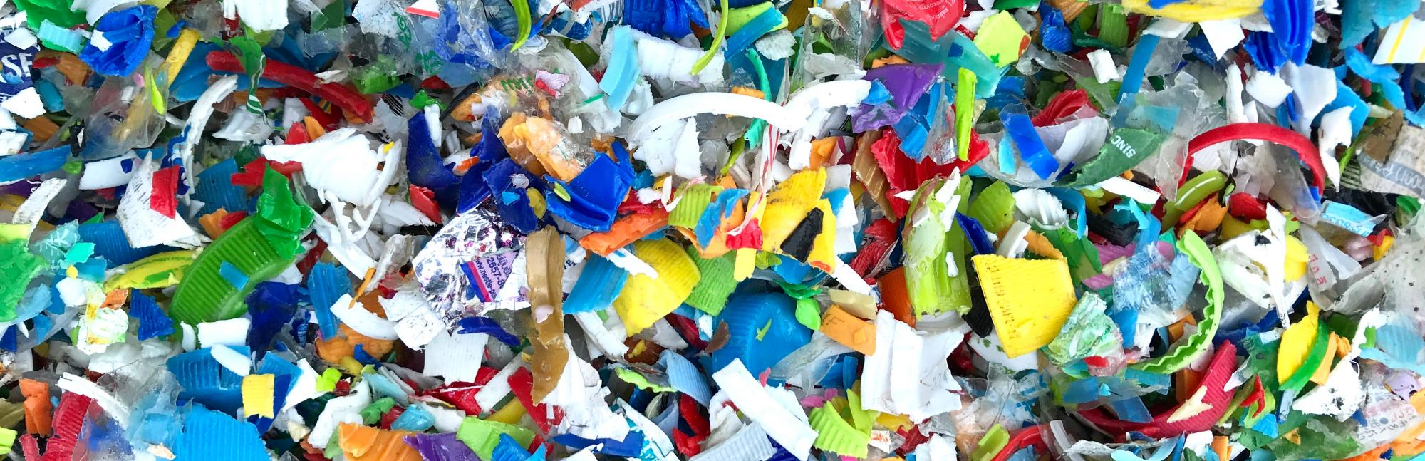 Pile of colourful shredded plastic
