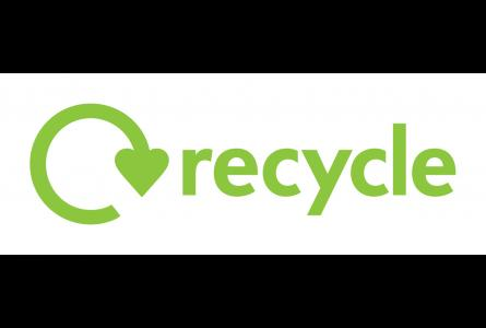 Green Recycle Now logo and swoosh symbol